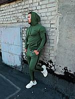 Мужской спортивный костюм с капюшоном зеленый с полосками, фото 1
