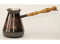 """Турка медная с узором """"Роза"""" и деревянной ручкой, 500 мл. Джезва для приготовления кофе"""