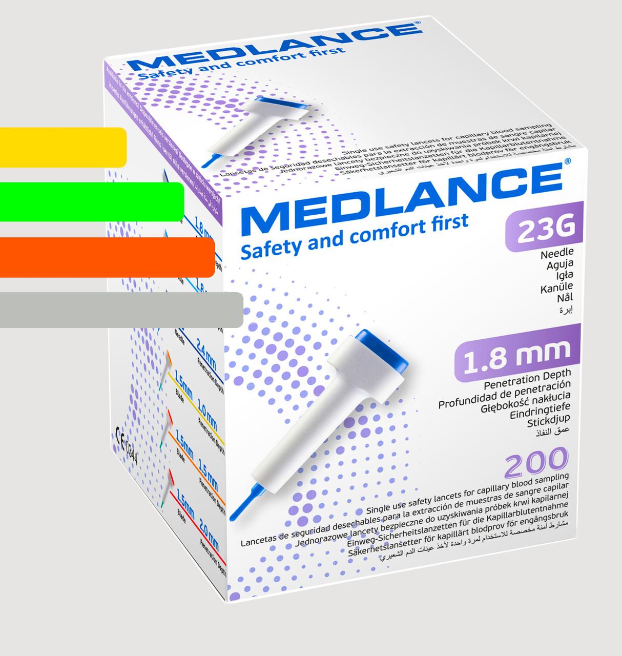 Ланцеты MEDLANCE с кнопкой, игла 23G, глубина  проникновения 1,8 мм