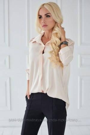 Сорочка жіноча бежевого кольору з рукавом 3/4, сорочка літня подовжена суворого стилю