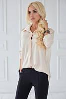 Рубашка женская бежевого цвета с рукавом 3/4, рубашка летняя удлиненная строгого стиля