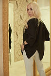 Сорочка жіноча бежевого кольору з рукавом 3/4, сорочка літня подовжена суворого стилю, фото 3