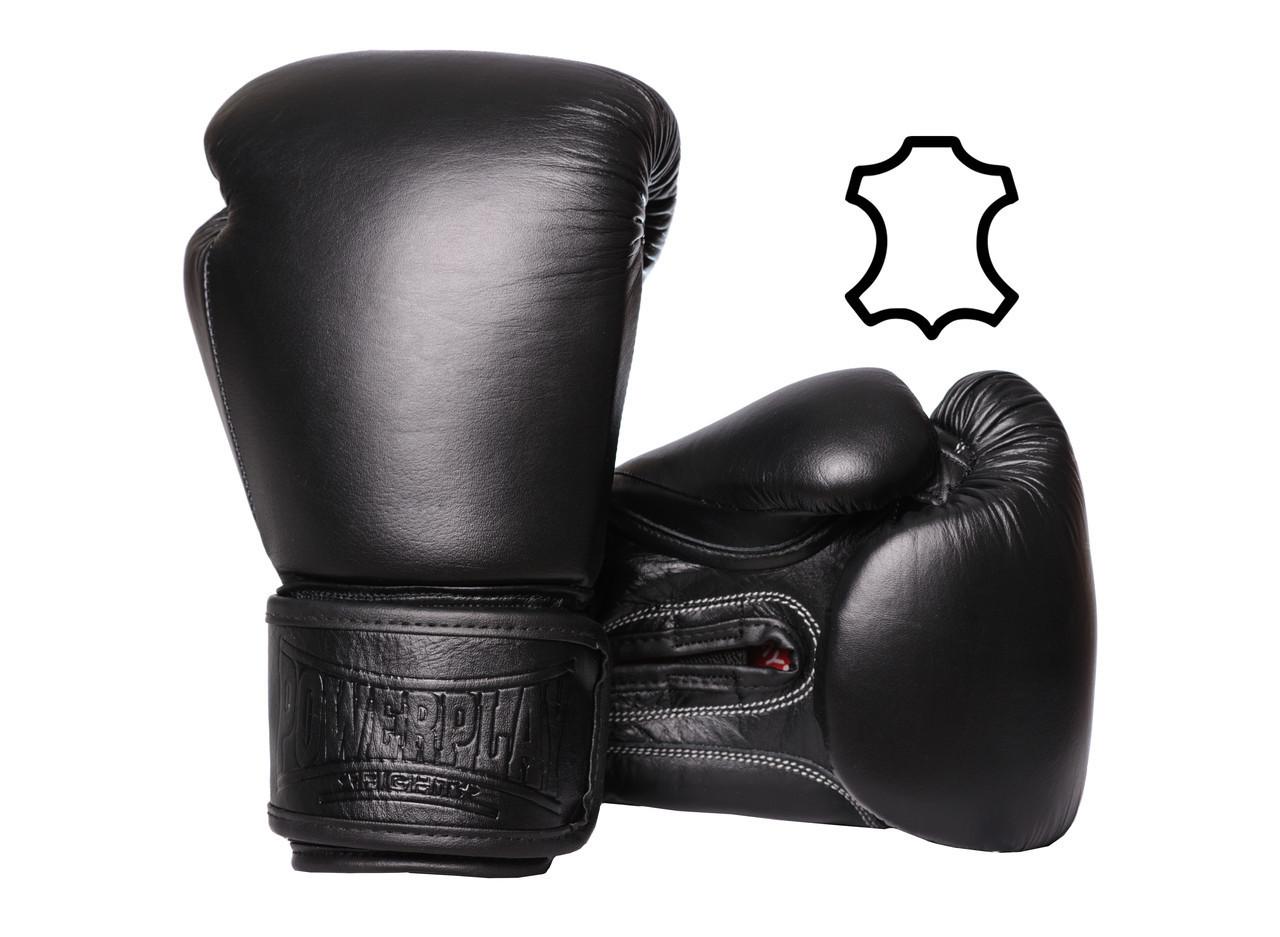 Боксерські рукавиці PowerPlay 3014 Чорні [натуральна шкіра] 10 унцій