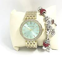 Женские наручные часы Michael Kors копия класса люкс, жіночі годинники Michael Kors (золото/голубой)