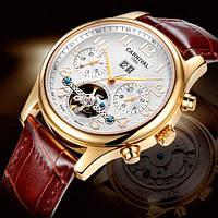 Чоловічий механічний годинник Carnival Swiss Brown (сапфірове скло, 25 каменів)
