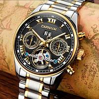 Мужские механические часы с автоподзаводом Carnival Sappfire Silver (сапфировое стекло, 25 камней)