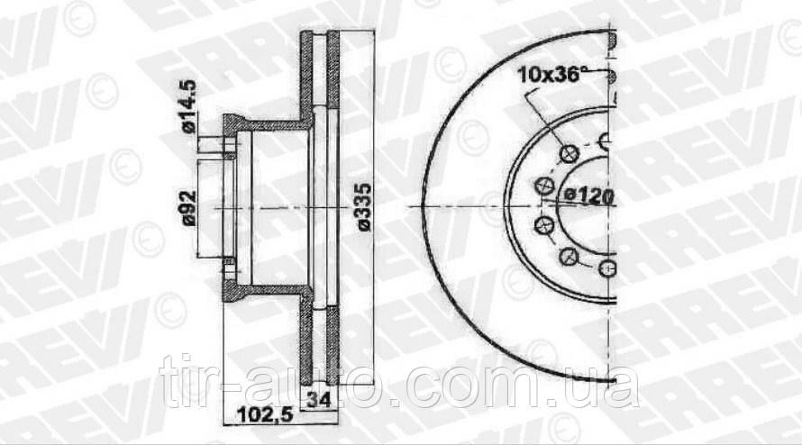 Тормозной диск передний MERCEDES ATEGO 01.98-10.04 ( ERREVI ) 713654