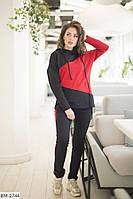 Женский спортивный костюм двухцветный красный хаки пудра 42-44 46-48