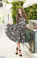 Женское платье нежное цветочное с поясом темно-зеленое бежевое серое 42 44 46 48, фото 1