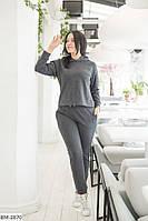 Женский спортивный костюм с капюшоном большого размера хаки темно-синий темно-серый пудра 50-52 54-56, фото 1