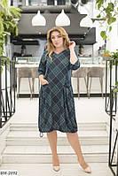 Женское платье Ромбик с карманами большого размера темно-синее темно-зеленое бордо 50 52 54 56, фото 1