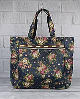 Сумка шоппер большая LeSportsac 9802-05 в розочки текстильная