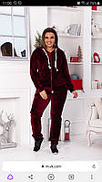 Велюровый батальный женский спортивный костюм бордовый