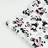 """Лоскут ткани №1399а """"Панды с розовыми шариками"""" на белом, фото 2"""