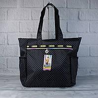 Сумка шоппер большая LeSportsac 9802-06 черная в горошек текстильная