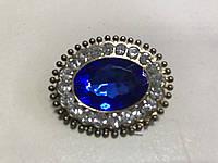 Женская крупная брошь с большим  камнем 4.5 см цвет синий
