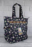Сумка шоппер большая, пляжная, хозяйственная LeSportsac 9802-07 синяя фламинго текстильная, фото 1