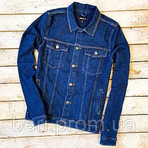 КАЧЕСТВЕННАЯ ! Мужская Джинсовая Куртка | Джинсовка с Вышивкой | Демисезонная | Чоловіча Джинсова, Темно Синяя