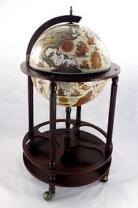 Глобус бар напольный на 4 ножки 420 беж-темная вишня 42003W-R глобус-бар