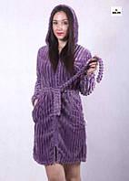 Махровый халат женский на молнии с капюшоном и поясом 44-52р.