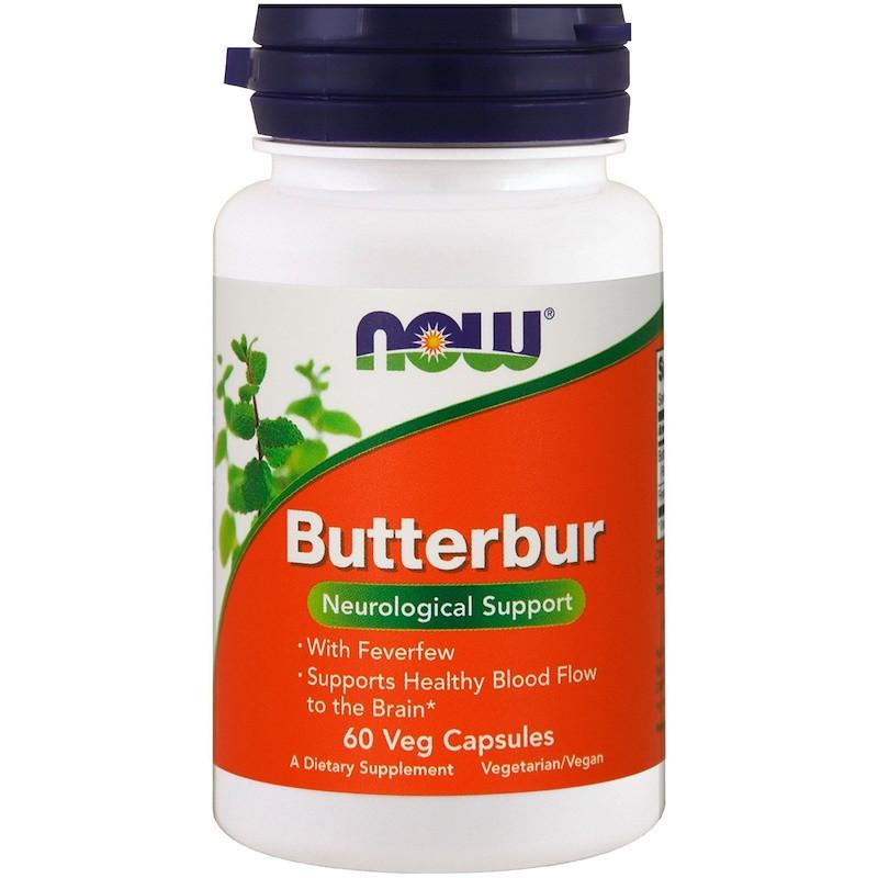 """Белокопытник NOW Foods """"Butterbur"""" неврологическая поддержка (60 капсул)"""