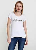 Приталенная женская футболка коттон с надписью Black 9102 Белый