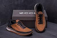 Кроссовки мужские кожаные Ecco Classic brown реплика