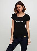 Женская футболка с надписью Black 9102 Черный