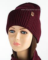 Вязаная женская шапочка Зара бордо