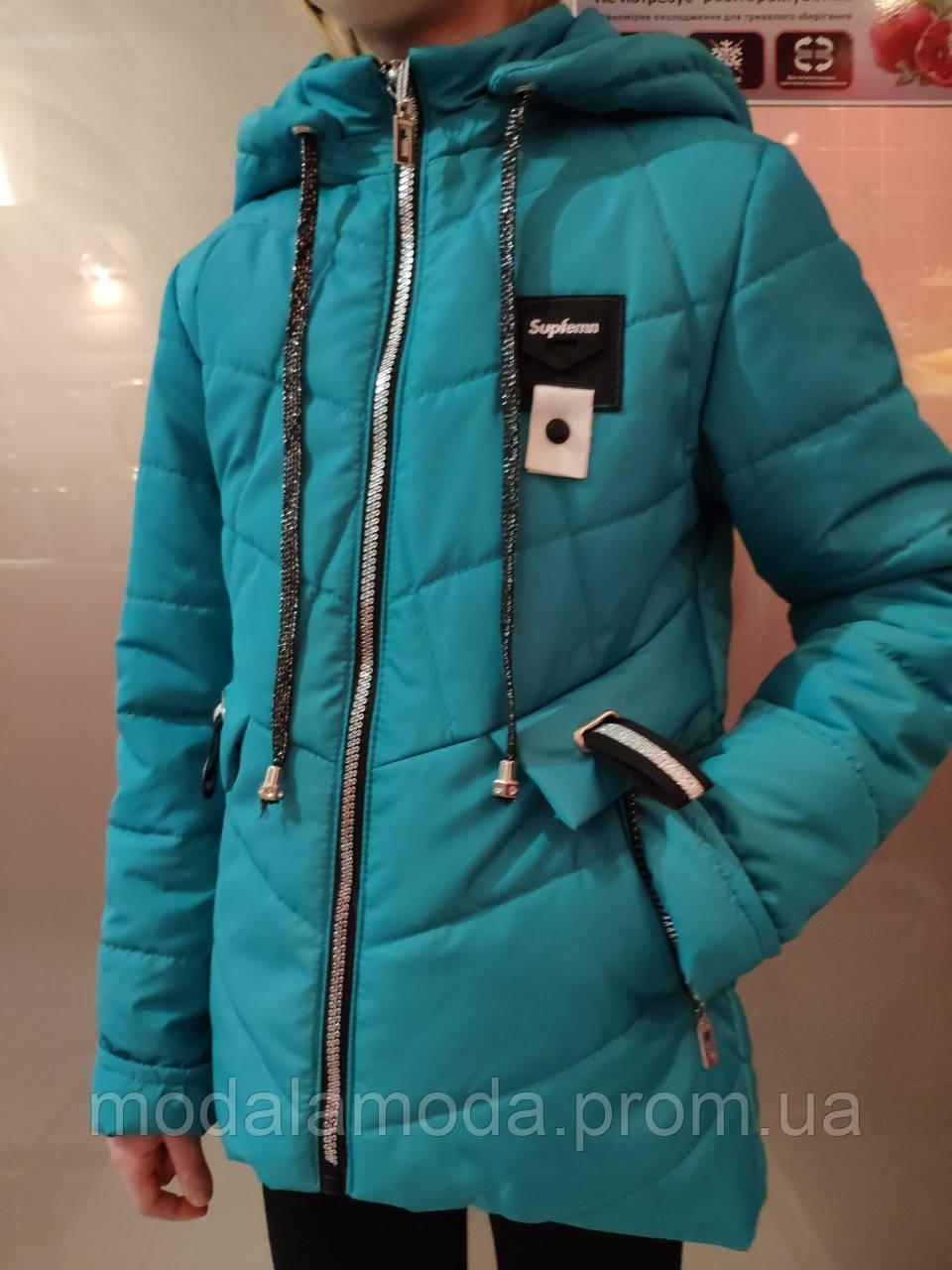 Прошытая куртка для девочек с брошкой стрикоза