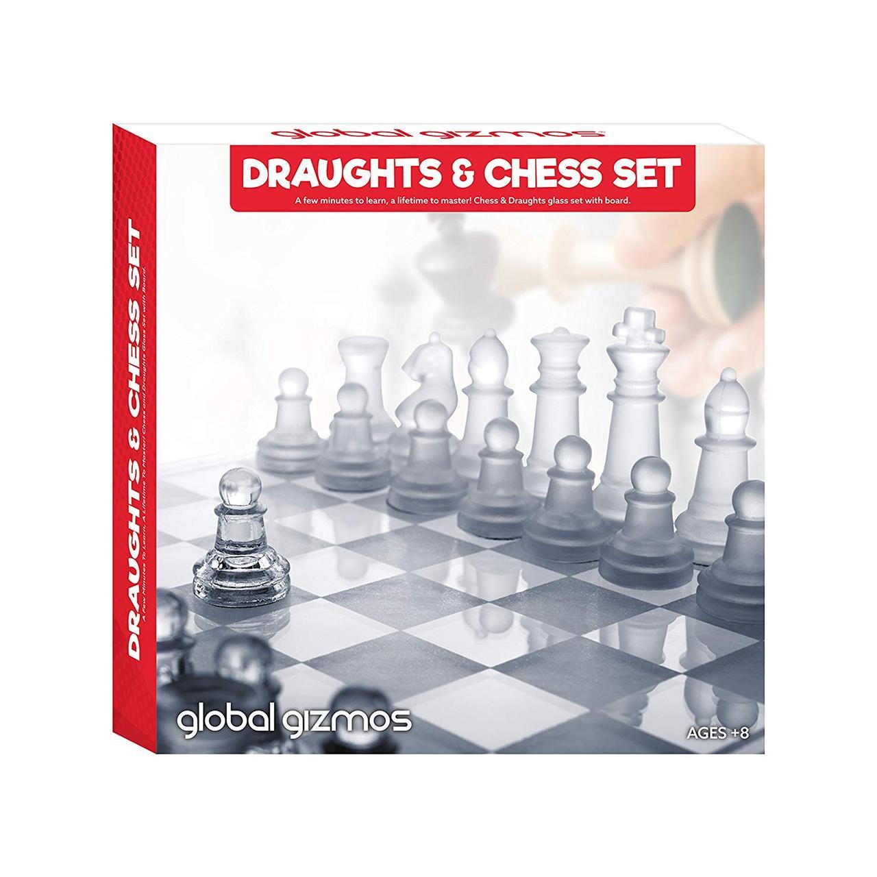 Гра 2 в 1 шахмати і шашки Global Gizmos Schach- und Damespiel aus Benross-Glas