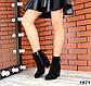 Женские черные ботинки на каблуке с бахромой натуральный замш деми, фото 2