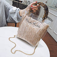 Женская прозрачная сумка Frido Kahlo бежевая, фото 1