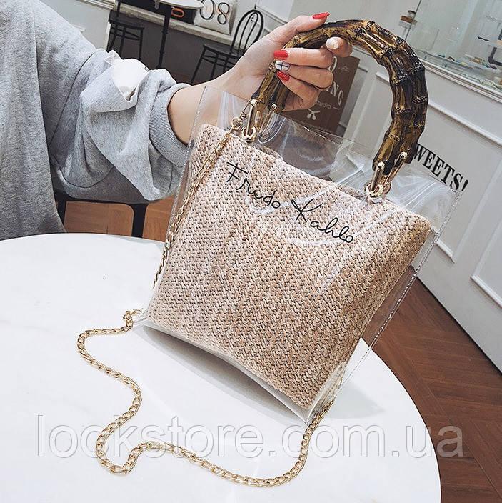 Женская прозрачная сумка Frido Kahlo бежевая