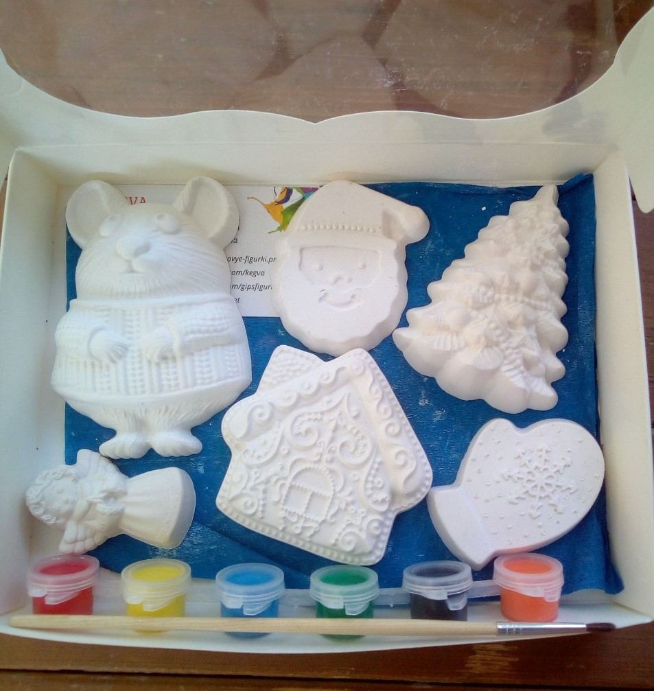 Новогодний набор гипсовых фигурок для творчества. Різдвяний набір гіпсових фігурок для творчості №54
