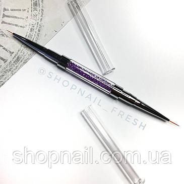 Двусторонняя кисть-лайнер для росписи ногтей со стразами., фото 2