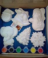 Новогодний набор гипсовых фигурок для творчества. Різдвяний набір гіпсових фігурок для творчості №55