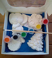 Новогодний набор гипсовых фигурок для творчества. Різдвяний набір гіпсових фігурок для творчості №56