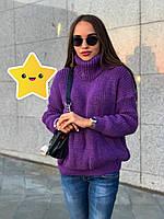 """Объемный свитер """"Арчи"""" р. 42-48 фиолетовый, фото 1"""
