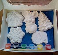 Новогодний набор гипсовых фигурок для творчества. Різдвяний набір гіпсових фігурок для творчості №57