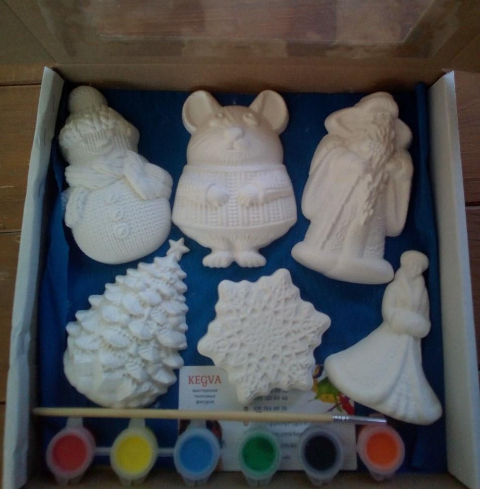 Новогодний набор гипсовых фигурок для творчества. Різдвяний набір гіпсових фігурок для творчості №58