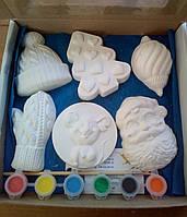 Новогодний набор гипсовых фигурок для творчества. Різдвяний набір гіпсових фігурок для творчості №59