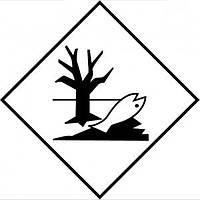 Наклейка знак экологической безопасности (Дохлая рыба) размер 250*250 мм