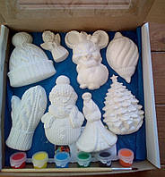 Новогодний набор гипсовых фигурок для творчества. Різдвяний набір гіпсових фігурок для творчості №61