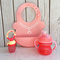 """Набор для кормления """"Помогайка""""  розовый"""