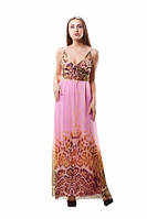 Летний шифоновый розовый сарафан на тонких бретелях с регулировкой длинный в пол на подкладке, розового цвета