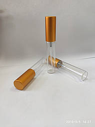 ПРОЗРАЧНЫЙ стеклянный Флакон-комплект для парфюмерии 5 мл. с пластиковым спреем и металлическим колпачком ЗОЛО