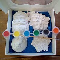 Новогодний набор гипсовых фигурок для творчества. Різдвяний набір гіпсових фігурок для творчості №62