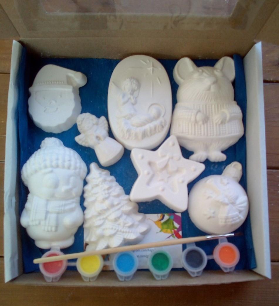 Новогодний набор гипсовых фигурок для творчества. Різдвяний набір гіпсових фігурок для творчості №63