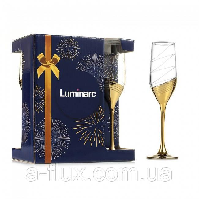 """Набор бокалов для шампанского Celeste 6 штх160 мл """"Золотое кольцо"""" ARC P1651"""